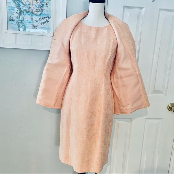 Oscar de la Renta 2pc Peach Linen Dress and Jacket